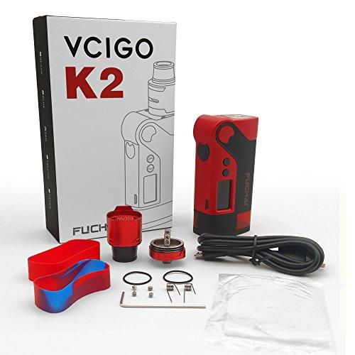 E Zigarette 230W Mod Box Set,E Cig SIGELEI Vcigo K2 Vapor Kit ohne E-Liquid und Nikotinfrei (Rot) + Kostenlose Wireless Fast Charger für SAMSUNG Galaxy S8/S8+/S7/S7 Edge/S6 dge+/note5 - Zigarette Elektronische Sigelei