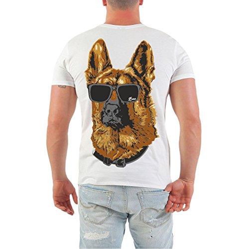 Männer und Herren T-Shirt Schäferhund - Deutsches Kulturgut (mit Rückendruck) Größe S - 8XL Weiß