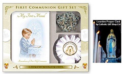 Boys-First-Holy-Communion-Book-Rosette-Gift-Set-LOURDES-PRAYER-CARD-C5202