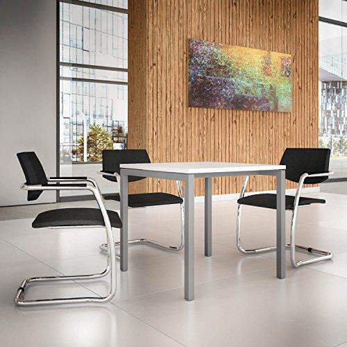 PROFI Besprechungstisch 80x80cm NOVA U Weiß Silbernes Gestell 4-6 Pers. Konferenztisch Meetingtisch