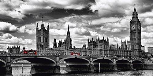 Artland Qualitätsbilder I Bild auf Leinwand Leinwandbilder Wandbilder 100 x 50 cm Städte Großbritannien London Foto Schwarz Weiß D1ND London Westminster Bridge Red Buses