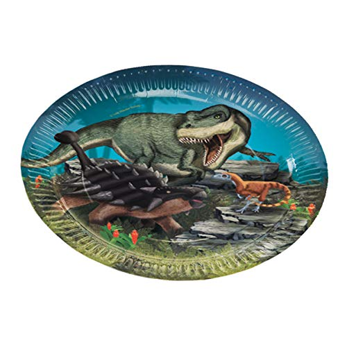 Neu 2019: 8 Party-Teller * Dinosaurier & T-Rex * für Kindergeburtstag und Motto-Party | 11352 | Dinos Kinder Geburtstag Pappteller Motto
