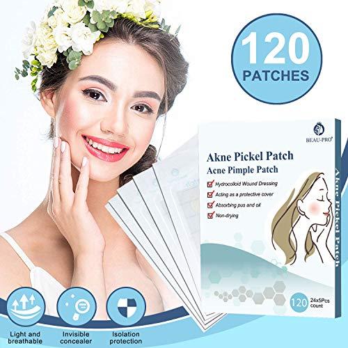 Akne Pickel Patch Acne Pimple Anti Pickel Entfernen Unsichtbare Hydrokolloide Absorbierendes Pflaster, 120 Akne-Sticker in Verschiedenen Größen für Gesicht Akne Behandlung Aknepflege MEHRWEG