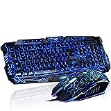 Juego de teclado y ratón con sensación mecánica de juegos, USB con conexión de cable de 3 colores, teclado ergonómico multimedia ergonómico + 3200 ppp de 4 colores, ratón de respiración con retroilumi