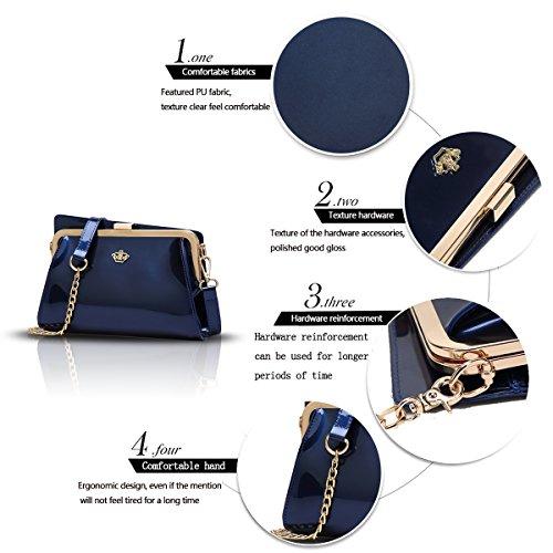 Sunas Il nuovo raccoglitore superiore superiore del sacchetto di spalla del cuoio di vernice delle donne di modo delle borse delle donne di modo blu