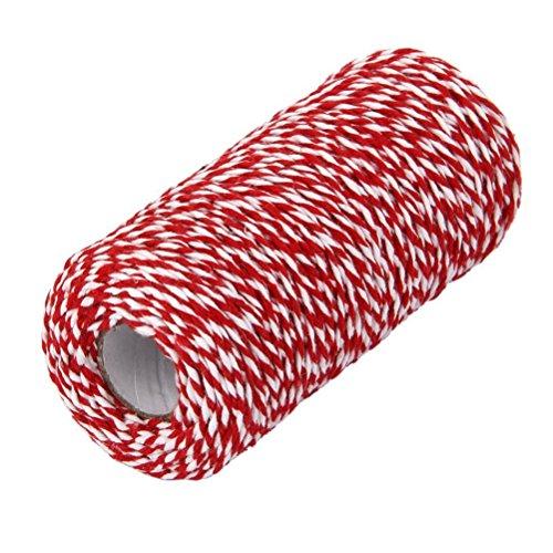 (WINOMO 100m Baumwolle Bäcker Schnur String Kordel Glas Flasche Geschenk Box Decor Craft (rot + weiß))
