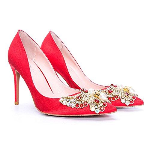 L@YC® Frauen High Heels Fine mit Diamanten 8cm Satin Spitzen Sandalen Office Dance Red