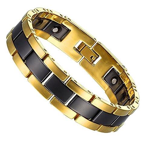 Beeindruckende Zwei-Ton-Wolfram, Keramik & Magnete Link Armband für Männer (Gold, Schwarz)