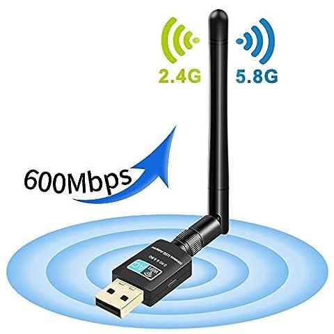 WIFI-Adapter, Foktech AC600 Dual Band 2.4 G/5 G Wireless Network USB WiFi Dongle für Tablet Laptop Desktop PC, Unterstützt Win 10/8/7/Vista/XP/2000, Mac OS (Laptops Desktop-computer)