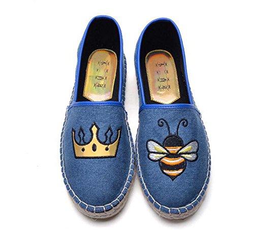Onfly Segeltuchschuhe Lässige Schuhe Loafer Mädchen Gemütlich Pumps Fischer Leinen Bienen Tiger Wörter Muster Flache Schuhe Paar Schuhe Pedal Schuhe Lazy Schuhe Eu Größe 34-40 , blue bee , 40