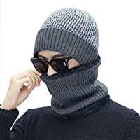 IBLUELOVER Unisex Winter Beanie Hat And Snood Scarf Set Warm Knitted Hat Circle Scarf Set Thermal Skull Cap Neck warmer With Wool Lining Soft Thermal Ski Neck Scarf For Outdoor Sports Men Women