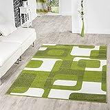 T&T Design Wohnzimmer Teppich Modern Grün Grau Weiß Retro Muster Kurzflor, Größe:160x220 cm