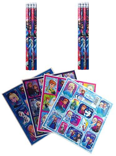 Frozen Die Eiskönigin - 16 tlg. Set 8 Bleistifte mit Radiergummi + 8 Stickerbogen Mitgebsel...