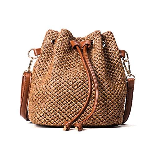 2017 Neu Stroh Eimer Tasche Schulter Diagonal Handtasche Mode Gewebte Tasche Brown