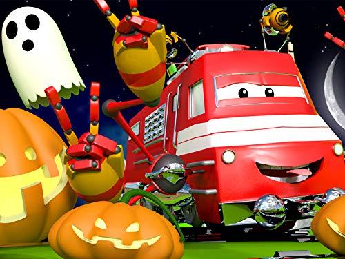 Die Halloween-Schwebe-Parade in Zugstadt/Tina hat einen riesigen Kürbis außerhalb von Zugstadt - Halloween City Kostüm
