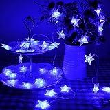 Lychee 4m 13ft 40 LED impermeabile Batteria particelle stella a cinque punte Operated luci leggiadramente della stringa per Outdoor Wedding dell'interno Garden Home decorazione della festa di Natale (Blu)