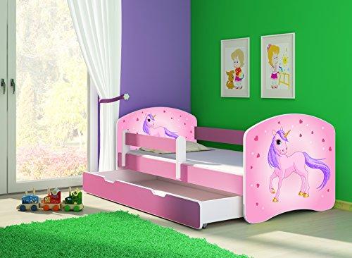 Clamaro \'Fantasia Pink\' 160 x 80 Kinderbett Set inkl. Matratze, Lattenrost und mit Bettkasten Schublade, mit verstellbarem Rausfallschutz und Kantenschutzleisten, Design: 17 Einhorn
