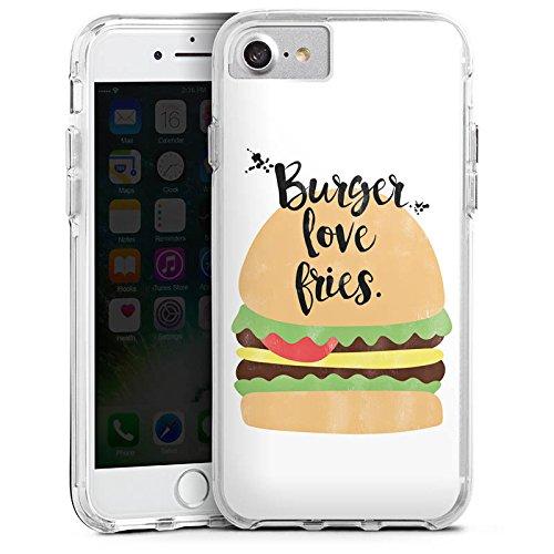 Apple iPhone 8 Bumper Hülle Bumper Case Glitzer Hülle Burger Hamburger Fastfood Bumper Case transparent
