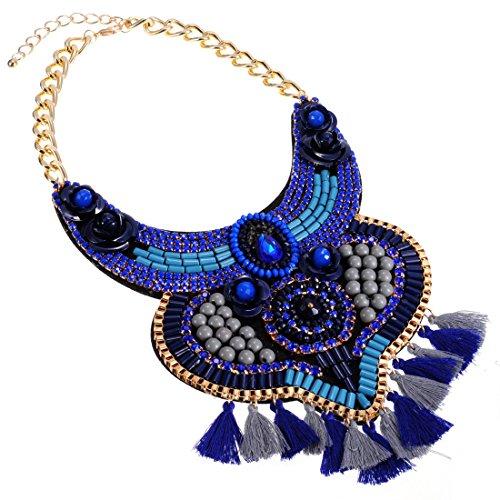 Jerollin Mode Blauen Halsschmuck Quaste Halskette Kette fuer Freundin Geschenk Party (Billig Dekorationen Party)