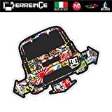 erreinge Sticker Compatibile per Fiat 500 Down out Dub JDM Tuning Sticker Bomb Adesivo Sagomato in PVC per Auto Lunotto Finestrino - cm 10