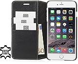 StilGut Leder-Hülle für iPhone 6s Plus mit Kreditkarten-Fächern, schwarz