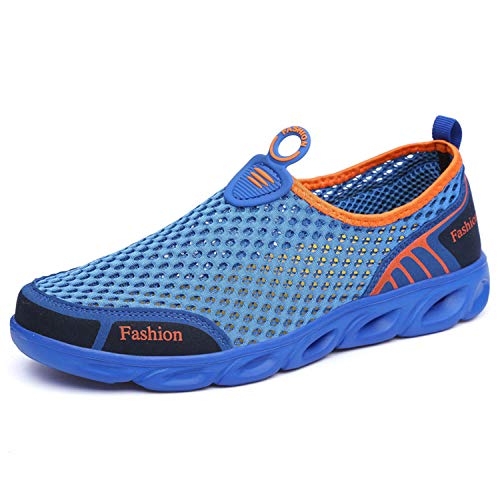 Brand Men Casual Shoes 2019 Summer Men Shoes Slip On Men's Loafers Breathable Mesh Air Male Casual Walking Shoes Royalblue 11.5
