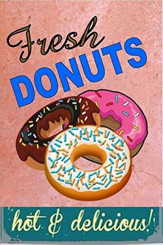 RABEAN Fresh Donuts Póster de Pared Aluminio Metal Creativo Placa Decorativa Cartel de Chapa Placas Decoración Hogar Estar Oficina Café Bar