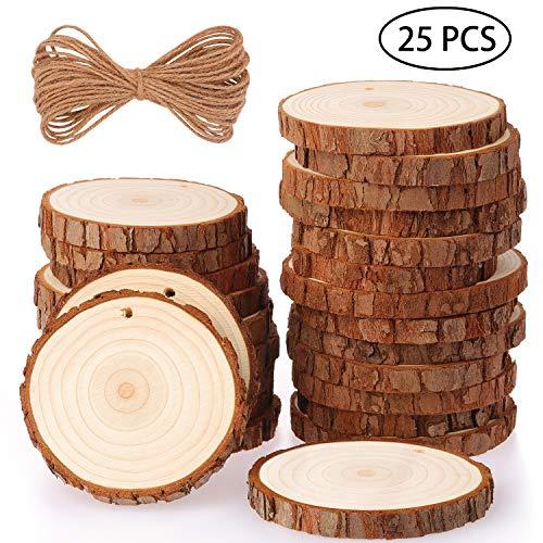 Fuyit dischetti legno grezzo diametro 8-9cm 25 pz naturale decorazioni fette dischetti grezzo rotondo con 11m corda iuta fai da te natale feste matrimonio segnaposto