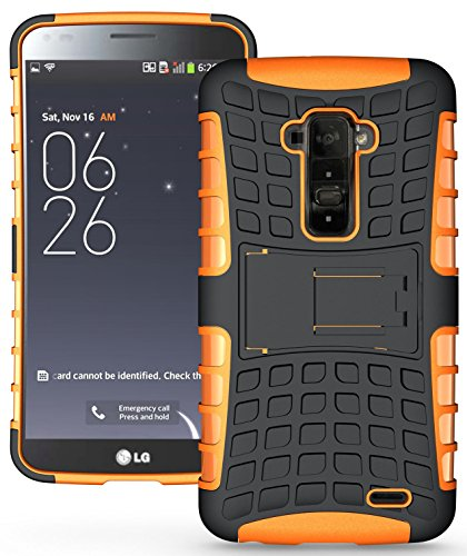 Heartly Flip Kick Stand Hard Dual Armor Hybrid Bumper Back Case Cover For LG G Flex D958 - Orange  available at amazon for Rs.399