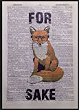 Fox Vintage Dictionary Page Print Wall Art Picture Hipster Quirky Animal Glasses - Parksmoonprints - amazon.co.uk