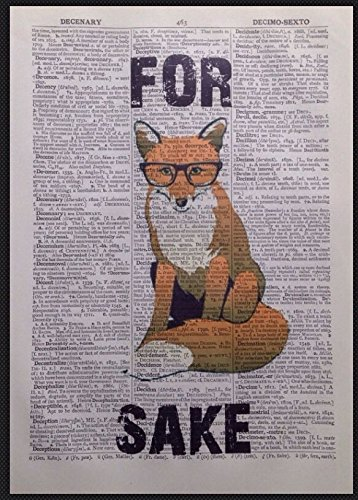 Fox Vintage Dictionary Page Print Wall Art Picture Hipster Quirky Animal Glasses