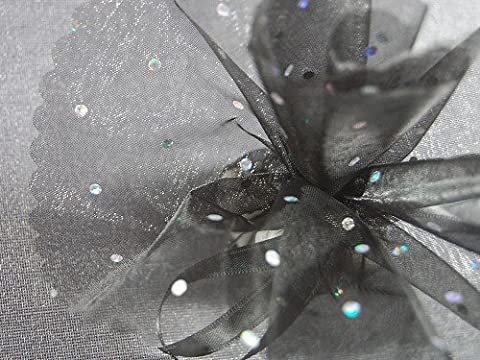 Circular Organza with Glitter Dots Tulle Bonbonniere Unique Black/Silver, Pack of 50