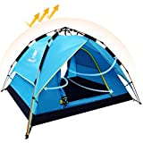 CAMEL Camping Tents 3-4 Person Waterproof Double Layer Automatic Instant Pop Up Hydraulic Automatic Family Beach Dome Tent, UV Protection with Carry Bag for Hiking Picnic Backpacking Outdoor for 3 Season (BLUE)