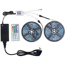 WenTop 10m Tira LED, 5050 RGB 300leds Luces Led,Tira LED impermeable IP65+Control remoto de 44 teclas+DC 12V Fuente de alimentación de certificación GS para gabinete de cocina, iluminación de la TV