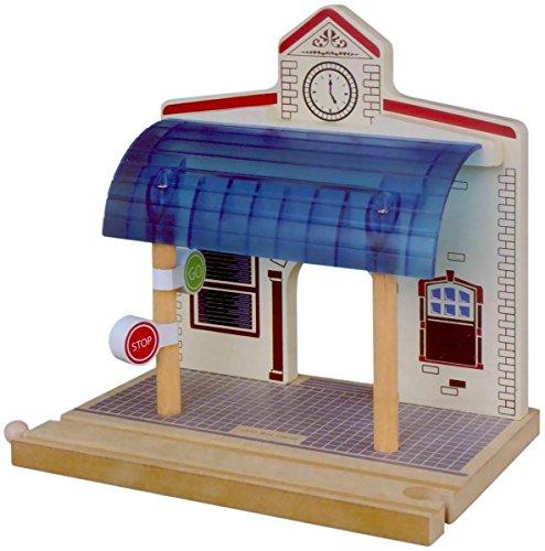 Juguetes para Juego de tren de madera Chelsey Stop and Go estación Playset (Multi-Color)