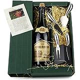 Geschenk Set mit 0,75 l hochwertigem Cidre und Käsemesser-Block