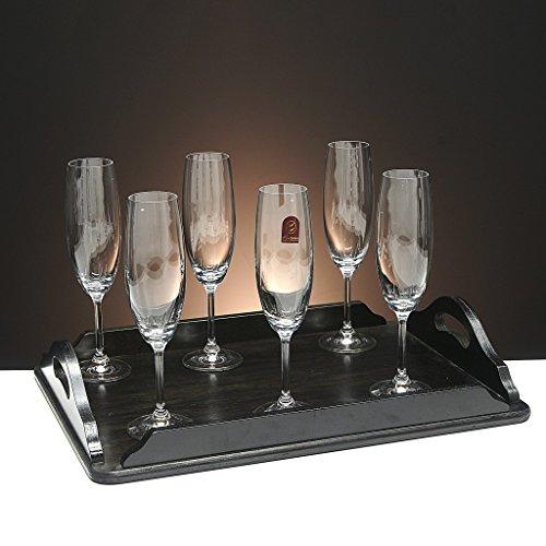 Set/Étui de 6 Coupes en Verre pour Le Champagne, cava ou Mousseux + Plateau en Bois Couleur wenge rectangulaire, Collection 000\
