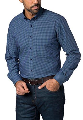 eterna Langarm Hemd Modern Fit Popeline Kariert Grün/Blau