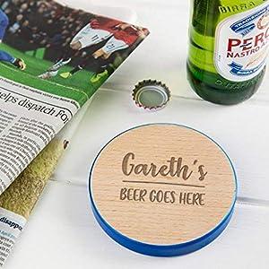 """Personalisierter Holz Untersetzer -""""Gareth's beer goes here"""" – Bier Geschenk für Männer – zum Nikolaustag, zu Weihnachten für ihn"""