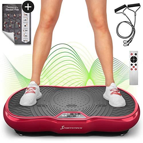Sportstech Plataforma vibratoria VP200 Bluetooth, innovadora tecnología de oscilación para Uso doméstico+póster de Entrenamiento+Cuerdas de Resistencia+Control Remoto+Altavoz Integrado (Rojo)