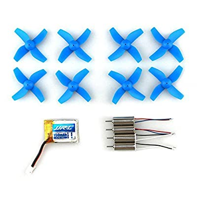 H36-0003 Micro Drone Spare Parts With 3.7V150MAH Battery 4 Pieces Motors and 8 Propellers for JJRC H36 RC Quadcopter-Blue
