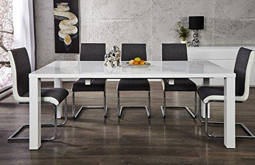 DuNord Design Esstisch Tisch BLANCHE weiß hochglanz ausziehbar 120cm bis 200cm Design Möbel