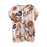 T-shirt damen sommer LUCKYCAT Damen Blätter Drucken Baumwoll-t-shirt Weste Hemd Bluse Tops T-Shirt oberteil (XL(AsianXL=EUL), Mehrfarbig 001)