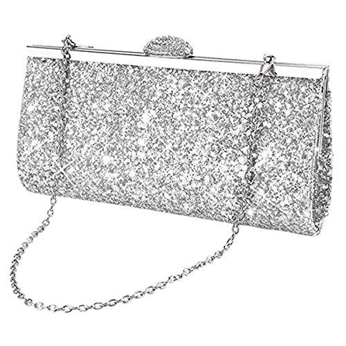 Sasairy Damen Elegant Clutch Abendtasche mit Abnehmbar Kette Glitzer Handtasche für Abend/Hochzeit,Silber