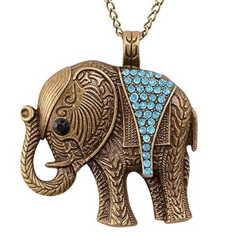 Retro Damen Halskette Kette Panzerkette Halsschmuck Eule Elefant Hirsch Antik (Elefant(Blau))
