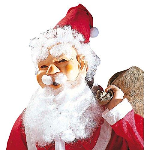 Amakando Weihnachtsmann Masken Set Maske Mütze Perücke Augenbrauen Bart Schnurrbart Nikolaus Maskenset Weihnachtsmannmaske Santa Claus Maske Christmas Verkleidung Kopf -