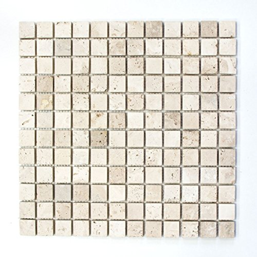 Mosaik Fliese Travertin Naturstein beige Chiaro Antique Travertin für BODEN WAND BAD WC DUSCHE KÜCHE FLIESENSPIEGEL THEKENVERKLEIDUNG BADEWANNENVERKLEIDUNG Mosaikmatte Mosaikplatte -
