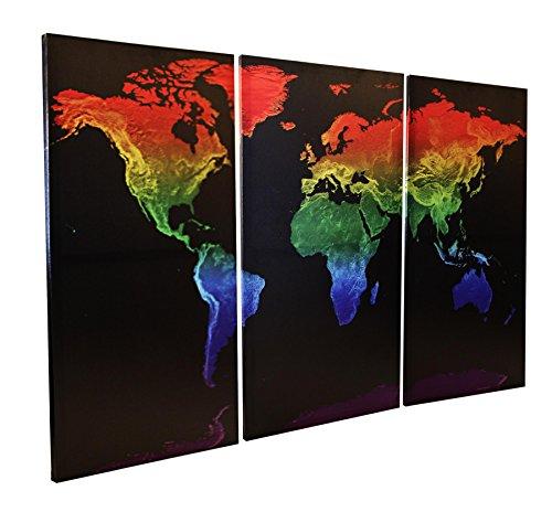 Rainbow | 3 tlg. Leinwand | schwarz -Regenbogen-Farben | 120 x 80 cm (3x je 80 x 40 cm) Triptychon (Gay-pride-dekorationen)
