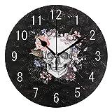 Domoko Home Decor Sugar Skull mit Rose Blume Rund Acryl Wanduhr Geräuschlos Silent Uhr Kunst für Wohnzimmer Küche Schlafzimmer
