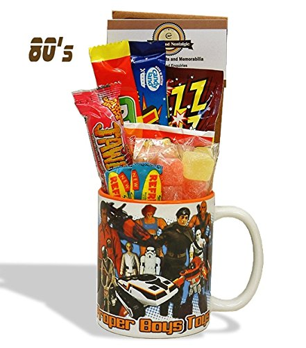 1980's Boys Toys Mug Mug with a Choc selection of 80's themed sweets.